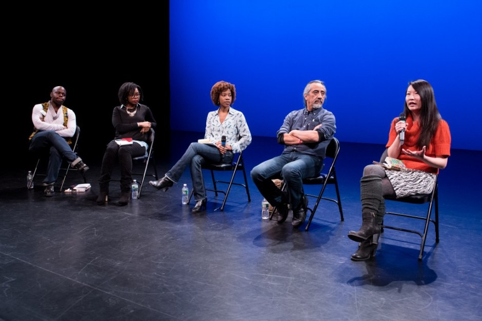 Panelists from Open Spectrum Critical Dialogues, February 22, 2015. Pictured from L to R: Jaamil Kosoko, Syreeta McFadden, Piper Anderson, George Sanchez, Jenny Koons. Photo by Ian Douglas, courtesy of New York Live Arts.