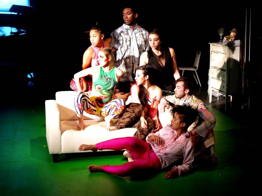 Left to right, back to front: Nikki Calonge, Tori Khalil, Chinaza Uche, Alexa Andreas, , Vanessa Koppel, Phiip gates and Aziza Barnes. Photo by Rosalie Baijer.