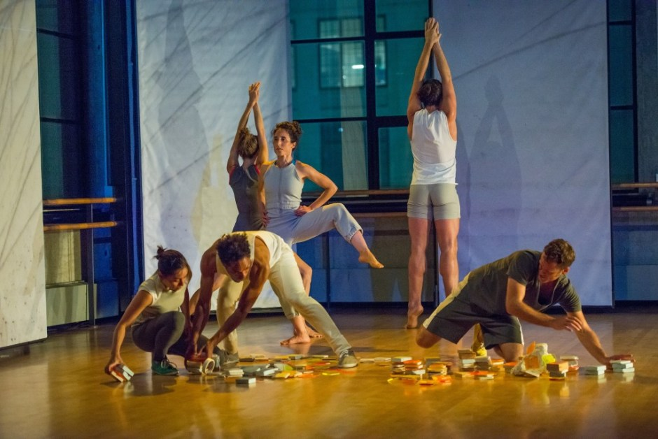 "The Baryshnikov Arts Center presents Joanna Kotze dance ""Find Yourself Here"" in the Howard Gilman Performance Space on September 16, 2015. Dancers (left to right) Jonathan Allen,  Zachary Fabri, Asuka Goto, Joanna Kotze, Stuart Singer, and Netta Yerushalmy  Photo Credit: ©Stephanie Berger."