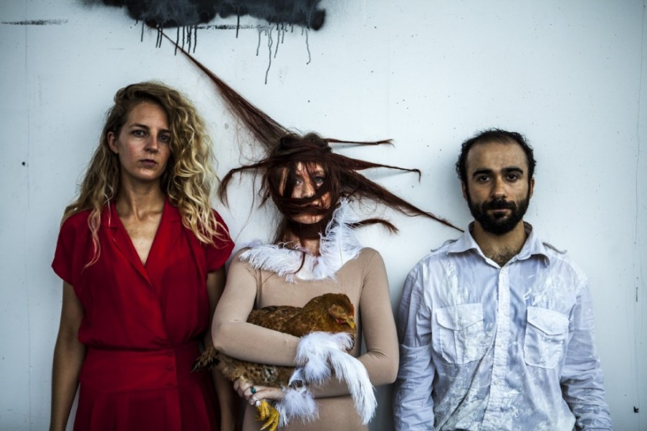 (L-R) Kathryn Hamilton, Kelsea Martin (with Molly von Cluckers), Cyrus Moshrefi. Photo by Maria Baranova.