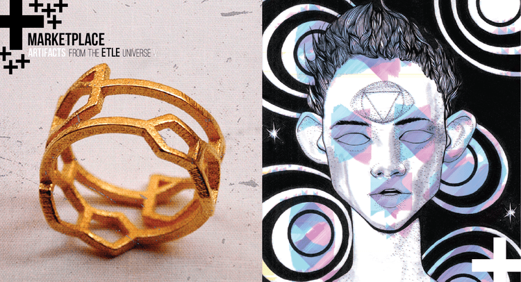 "Pictured: a ring from Jeff Poulin's Conspiracy Wearables and an image from Martha Hipley's ""What's keeping you cleaved"" in ETLE ILLUS"