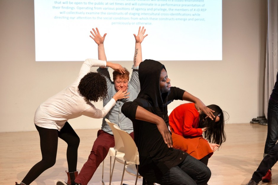 "Actors take turns posing each other in the ""tableaux game"" during Director Lileana  Blain-Cruz's study week as part of X-ID REP at New Museum, New York, 2015. Pictured  (left to right): Amelia Workman, Becca Blackwell, Mikeah Jennings, Youree Jong Choi."