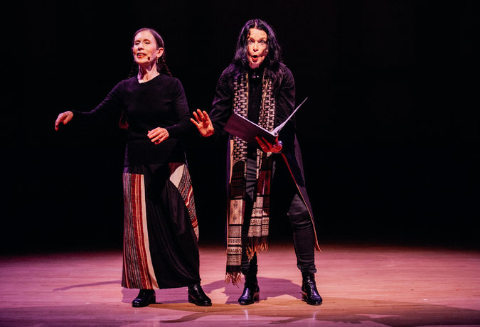 Meredith Monk, left, and Anne Waldman at Danspace Project. Credit Nicole Fara Silver for The New York Times