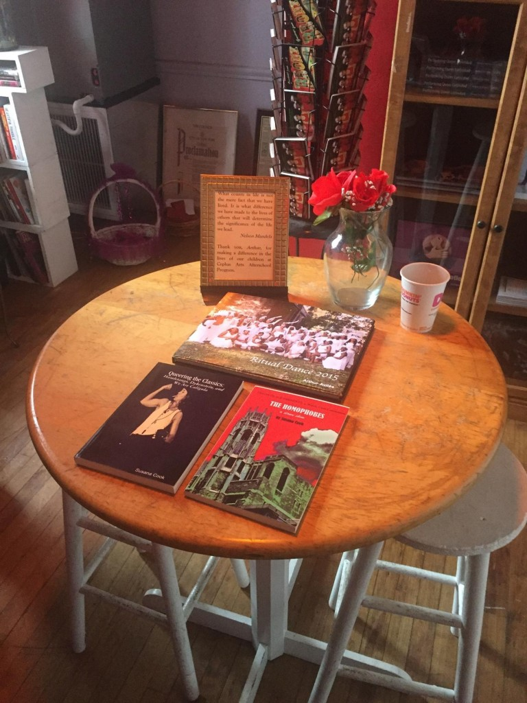 A cross between theater, studio and inn: inside BAAD! The black book on the table is Susana Cook's Queering the Classics – Hamletango, Dykenstein, and We Are Caligula