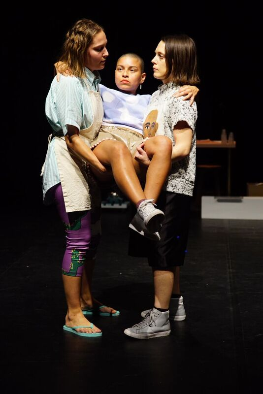 From left to right: Elsa Brown, Mariana Valencia and Lydia Okrent in Originators. Photo by Bradley Buehring.