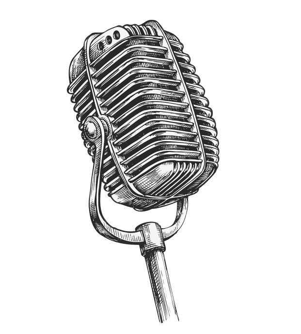 62204632 - hand drawn vintage microphone. sketch karaoke. vector illustration