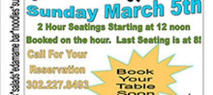 25th Annual Buffet Extravaganza March 5th, 2017 $35 All you can eat!