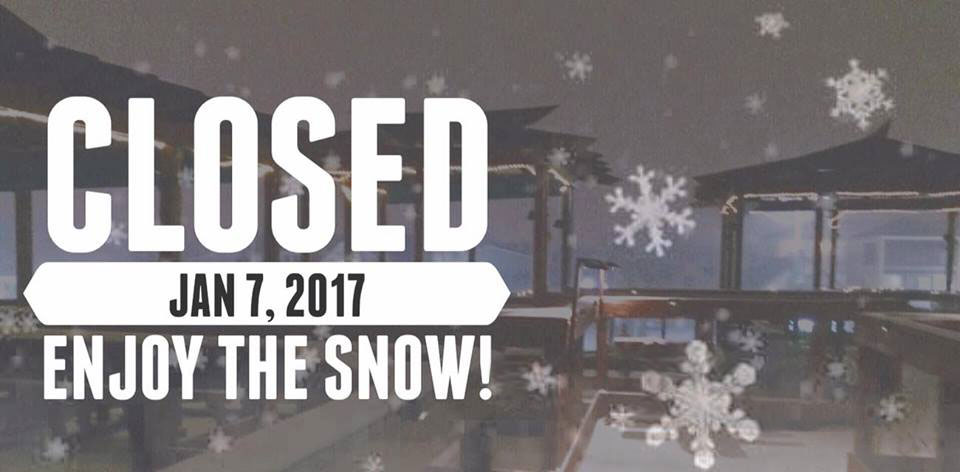 Due to Winter Storm Helena, The Cultured Pearl, Grub Grocery & Cultured Pearl Liquor Company will be CLOSED Saturday January 7th 2017.
