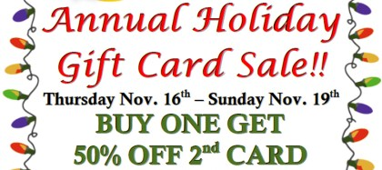 The Cultured Pearl's Famous Holiday Gift Card Sale 2017 is here!