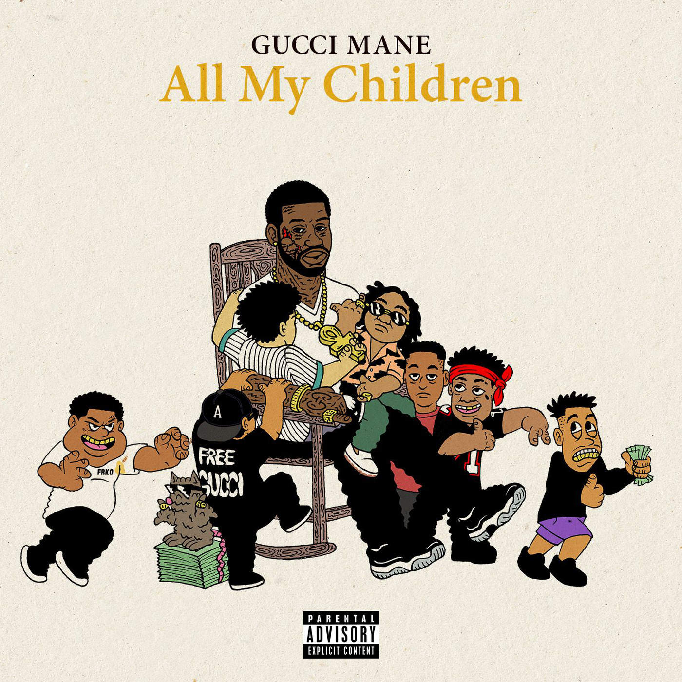 "FRKO drew this cover for rapper Gucci Mane's album ""All My Children."""