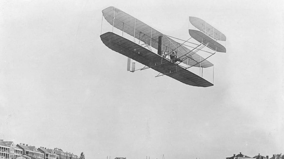 The Wright Brothers in Flight (Public Domain)