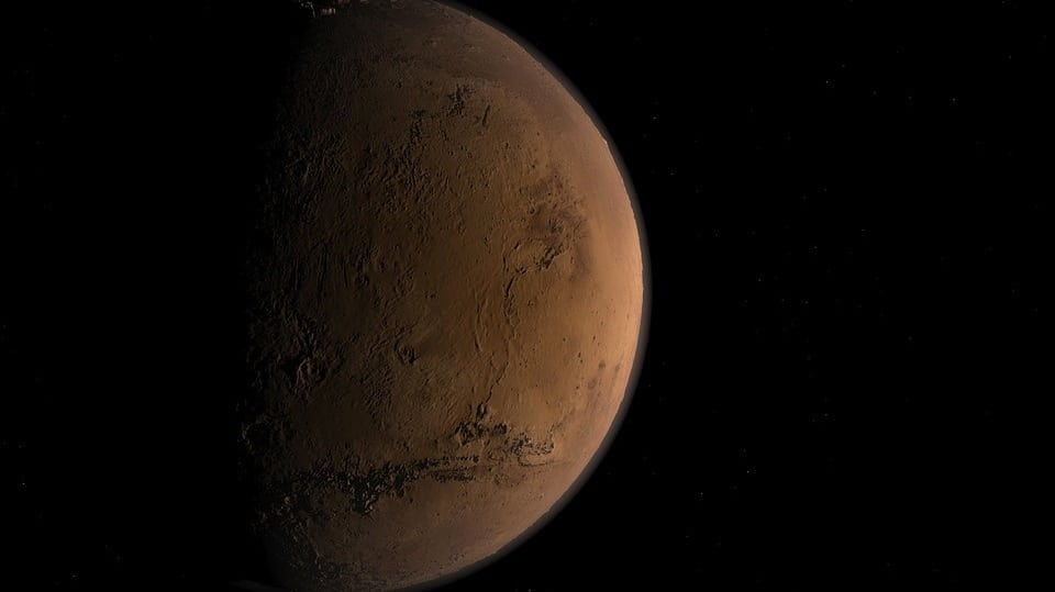 Mars in Shadow (Public Domain)