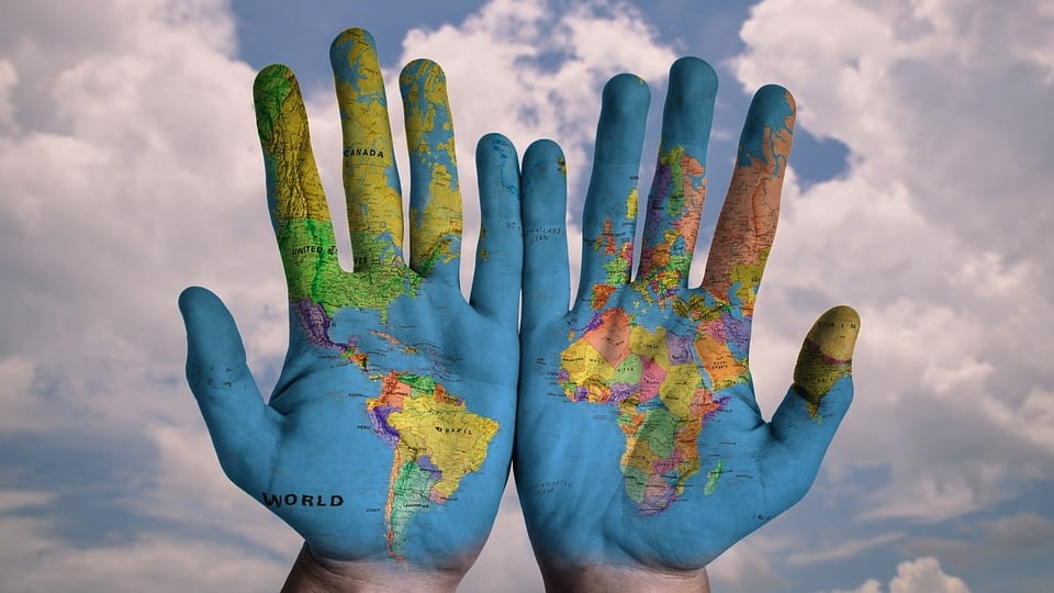 Map on Hands (Courtesy of Pixabay)