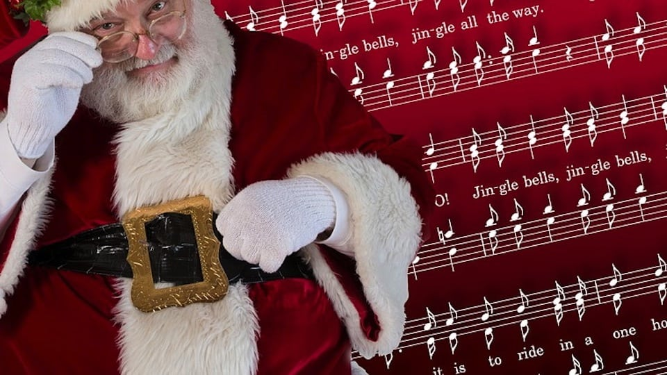 Santa with Jingle Bells Music (Public Domain)