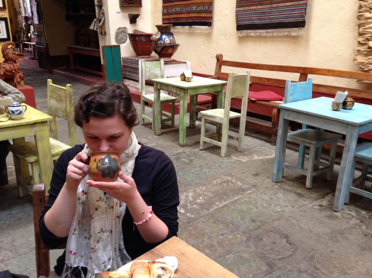 Enjoying a chocolate and chili hot chocolate in Puebla.