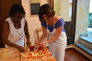 Cooking class in an Italian kitchen