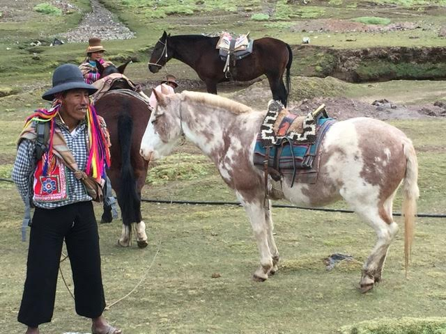 getting local with the tour guide in Peru