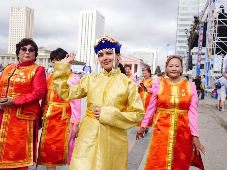 Sucheta Rawal walking in parade at Naadam festival in Mongolia