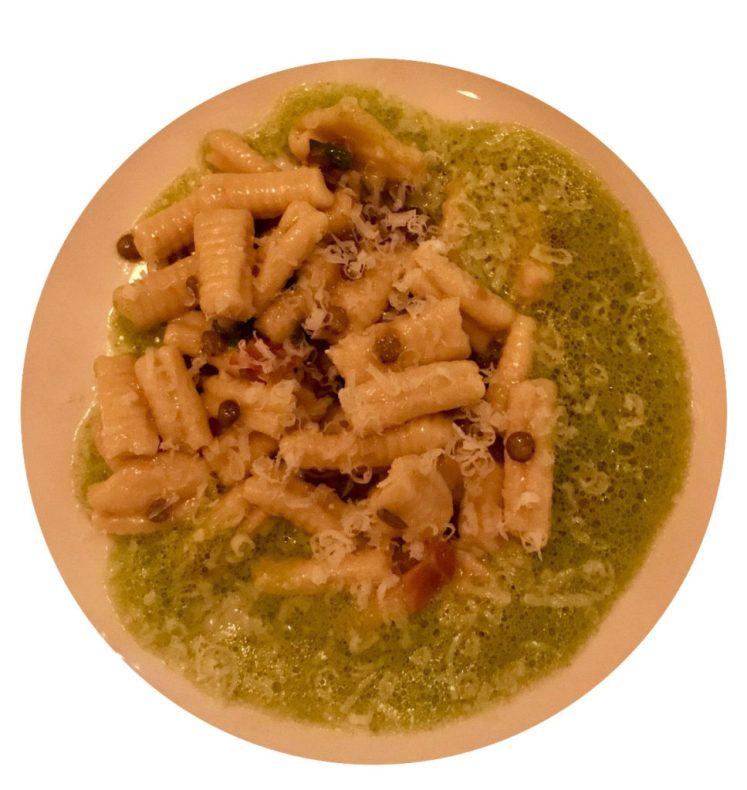 Frattoria Betti Brooklyn event: cavatelli with prosciutto, scallions, lentils and a spinach emulsion