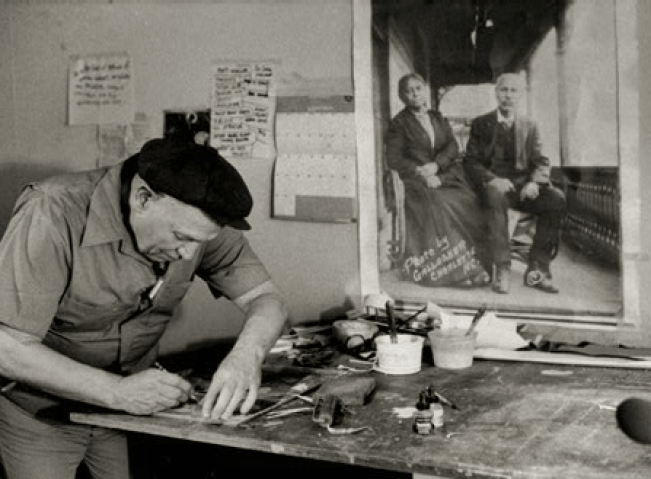 Romare Bearden in his Long Island City Studio