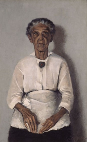 """Painting titled """"Portrait of My Grandmother""""by Archibald J. Motley, Jr.; 1922"""