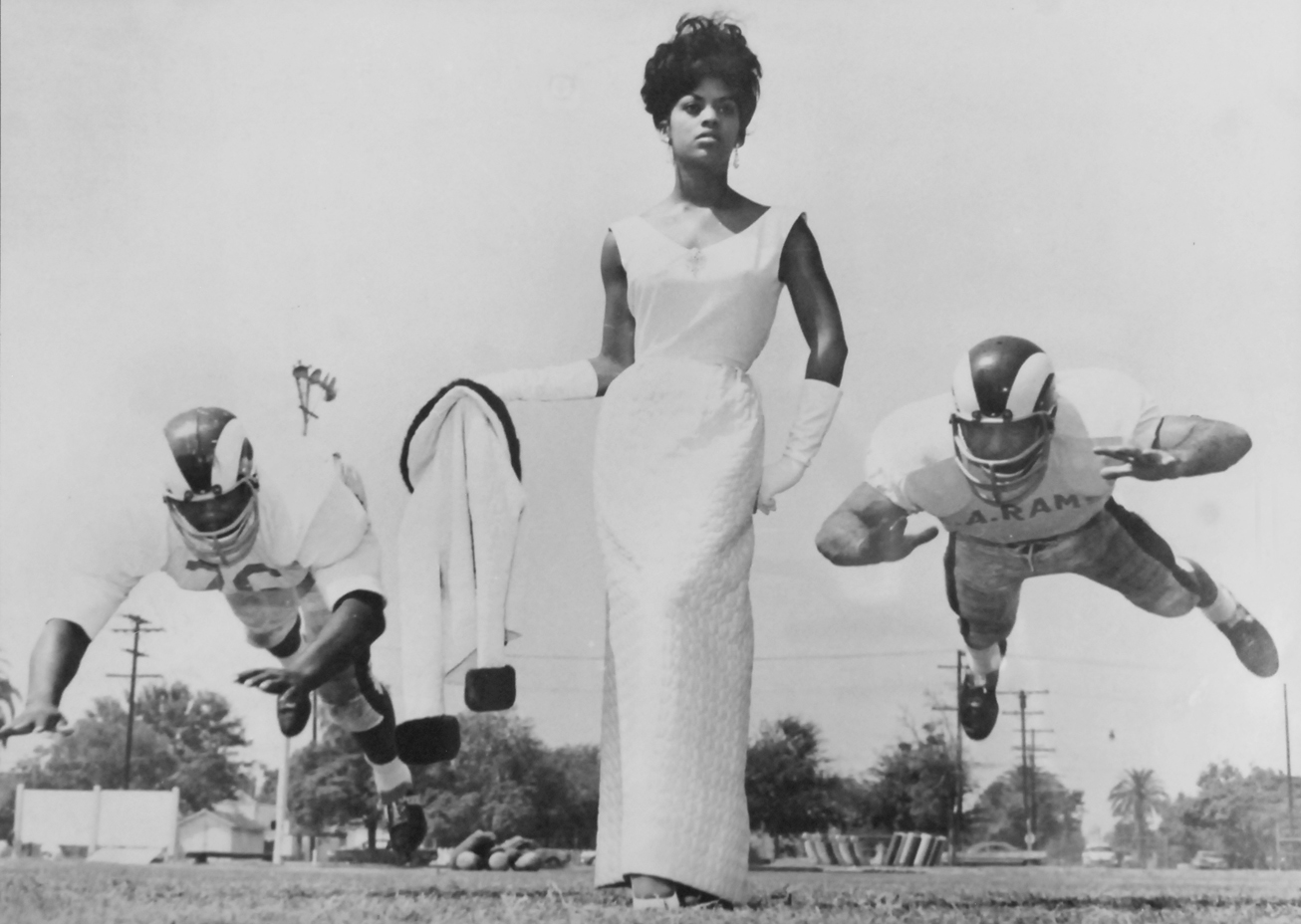 Cynthia Akins and Los Angeles Rams, c. 1965 by LaMonte McLemore.  Photo courtesy of Irene Fertik1