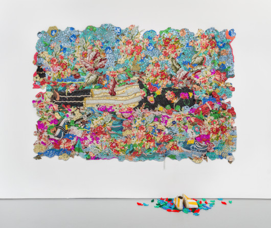 EP15-In-Rest-Dead-Treez_Mixed-media-jacquard-weave-tapestry-with-handmade-shoes-and-crocheted-leaves_84-x-113.5-inches-530x447
