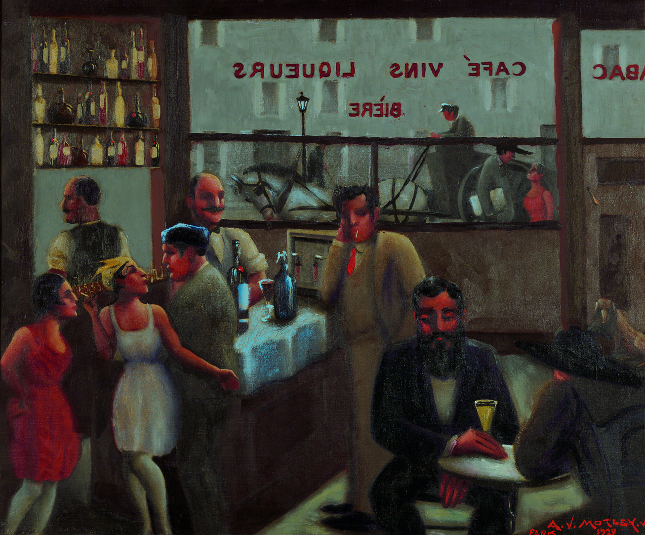 "Painting titled ""Café, Paris"" by Archibald J. Motley, Jr., 1929. Oil on canvas. Interior of a café in Paris, France."