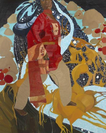 Mequitta Ahuja, Off the Edge, 2008, oil on canvas, the Museum of Fine Arts, Houston, Museum purchase funded by the African American Art Advisory Association. © Mequitta Ahuja