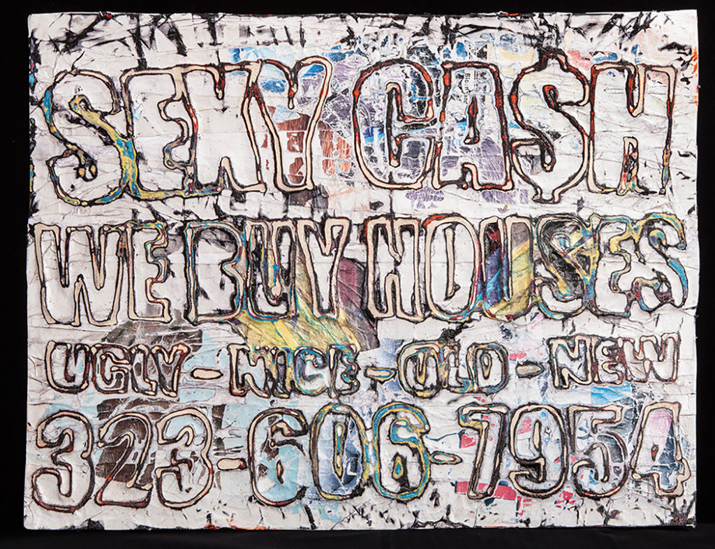 Mark Bradford (American installation and conceptual artist, b. 1961); Sexy Cash; 2013; Mixed media collage on weather-proofed board; 22 in. x 28 in. (55.88 cm x 71.12 cm); The Rose Art Museum, Brandeis University (Waltham, MA)