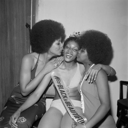 Raphael Albert, Miss Black & Beautiful Sybil McLean with fellow contestants, Hammersmith Palais, London, 1972.