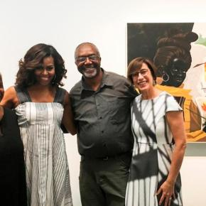 First Lady Michelle Obama Visits Kerry James Marshall Exhibition at MCA Chicago