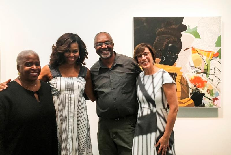 FLOTUS Michelle Obama visits Kerry James Marshall exhibition at MCA Chicago
