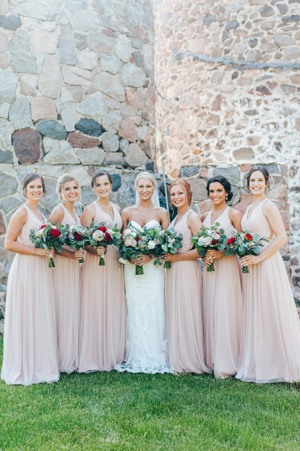 elegant wedding at delafied. Gorgeous white and blush wedding. Blush bridesmaids dresses. Red and blush wedding bouquet. Elegant wedding decor. Blush and white wedding decor. #blushwedding #elegantwedding