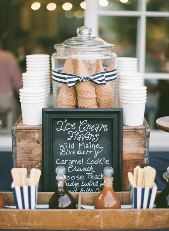 Sundae and icecream bar for your wedding. Here is a list of creative wedding bar ideas you can use to set up your wedding. Wedding decoration ideas that will wow your wedding guests. Here is a list of the best food reception stations you can set up to entertain your wedding guests. Unique Wedding station ideas for your reception. #Weddingstation #weddingbarideas #weddingideas
