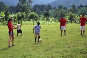 playing soccer in Uganda
