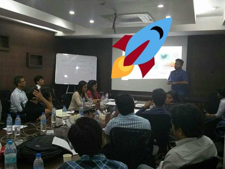 Pratik giving a presentation