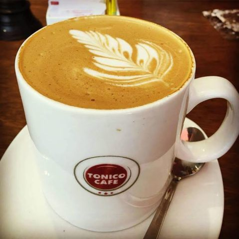 coffee culture: Cappuccino served in a private cafe in Kerala