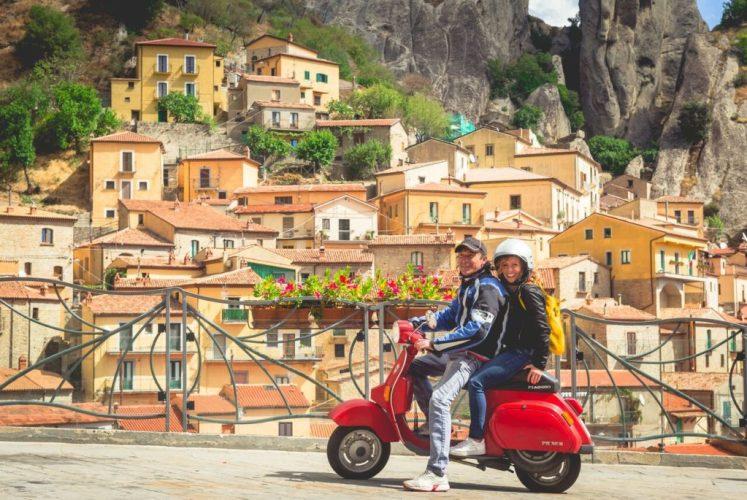 Riding around on a local's Vespa in Basilicata, Italy
