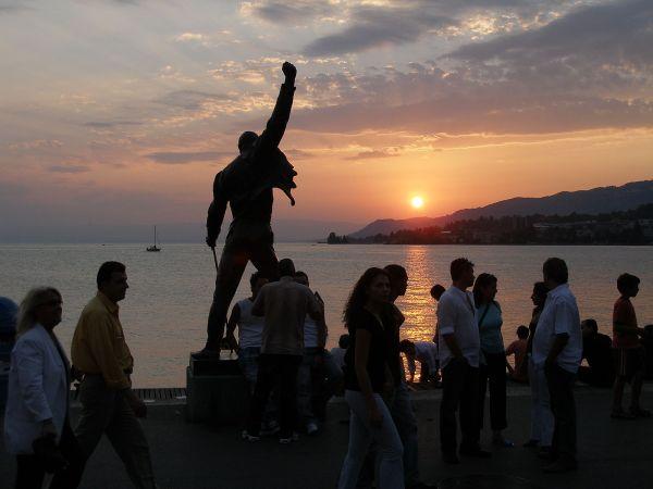 Freddie Mercury statue in Montreux, Switzerland at Sunset