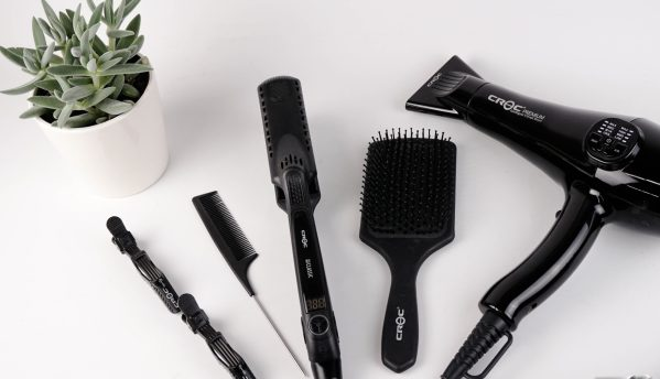 Image is of hairstyling tools, symbolizing the work Ted Gibson does.