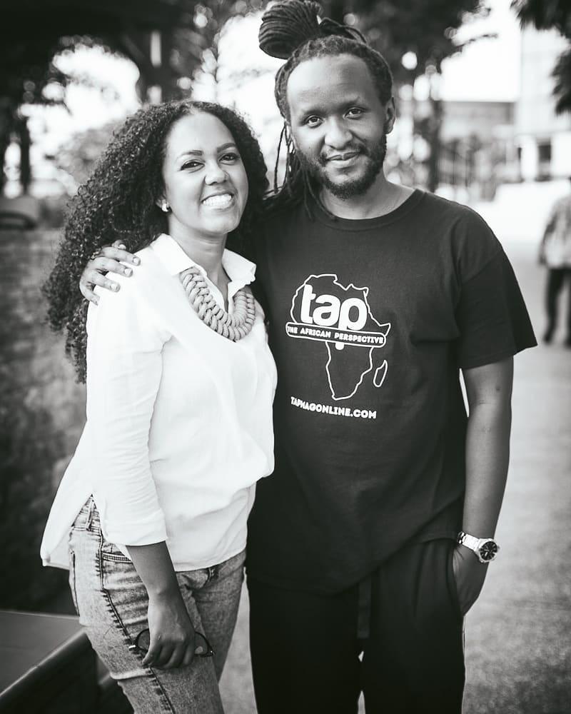 The African Perspective - Mutabaruka on the set of Homecoming with returnee Chrital Beek. Photo courtesy of Ras Mutabaruka.