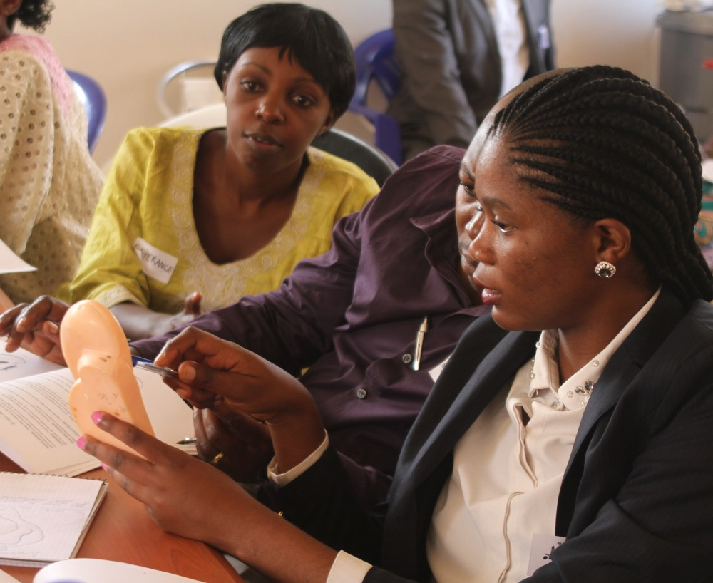 Trainees observe as a teammate points out acupuncture points on a plastic ear model.