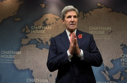 Kerry giving a speech at Chatham House.