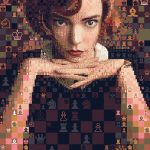 "Digital art portrait of Anya Taylor-Joy's character Beth Harmon from ""The Queens Gambit"". The mosaic portrait is made out of chess symbols, reflecting the character's chess skills."