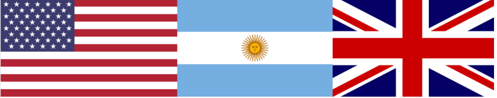 From left to right, the American flag, Argentinian Flag, and British flag.