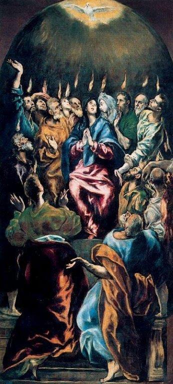 Creditline bij de foto: El Greco (1541–1614), Pentecostés, ca. 1600 Olieverf op doek, 275 x 127 cm,© Photographic Archive. Museo Nacional del Prado. Madrid