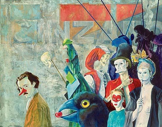 Levenskunstenaar Robert Webster loopt met rode feestneus op in ''la danse, un peu macabre, un peu carnavlesque'' 1, olieverf op doek, 140x110cm, collectie, Volksbank nv