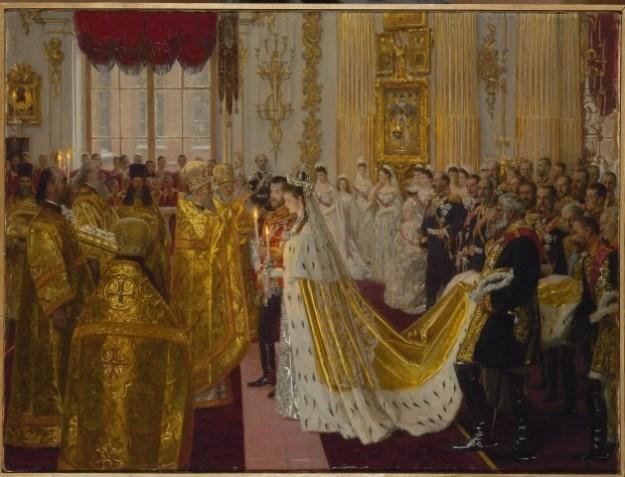 Laurits Tuxen, De huwelijksinzegening van tsaar Nicolaas II en tsarina Alexandra Fjodorovna, olieverf op doek, 1895 © State Hermitage Museum, St Petersburg