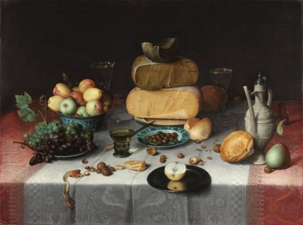 Dutch Food and Cuisine, Floris van Dijck, Stilleven met kazen, ca. 1615. Rijksmuseum, Amsterdam.